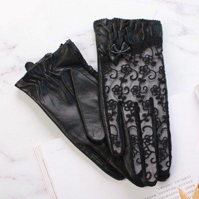 真皮手套羊皮手套-綿羊皮鏤空蕾絲蝴蝶結女手套73wf6[獨家進口][米蘭精品]