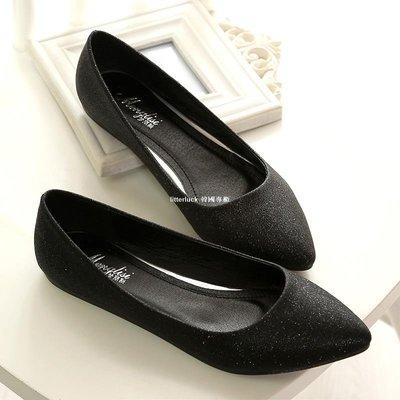 litterluck-韓國專櫃瓢鞋女工作鞋黑色上班鞋船鞋平底鞋百搭大碼女鞋春季41 42 43單鞋