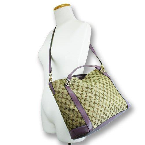 天使熊小鋪~義大利GUCCI雙G緹花LOGO斜背包 全新現貨紫色手提包 側背包 附背帶~原價75000