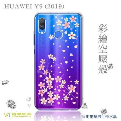 【WT 威騰國際】WT® HUAWEI Y9 (2019) 施華洛世奇水晶 彩繪空壓殼軟殼 -【戀櫻】