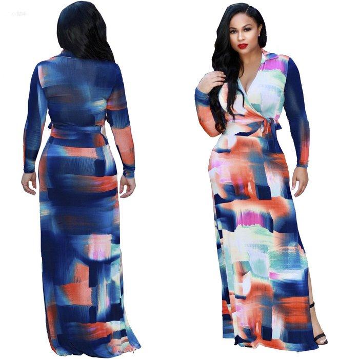 大碼碼性感數碼印花歐美時尚風開叉連衣裙#優品小鋪#