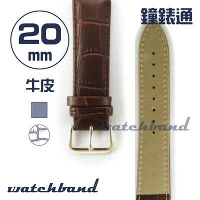 【鐘錶通】C1.22AA《霧面系列》鱷魚格紋-20mm 霧面褐┝手錶錶帶/皮帶/牛皮錶帶┥