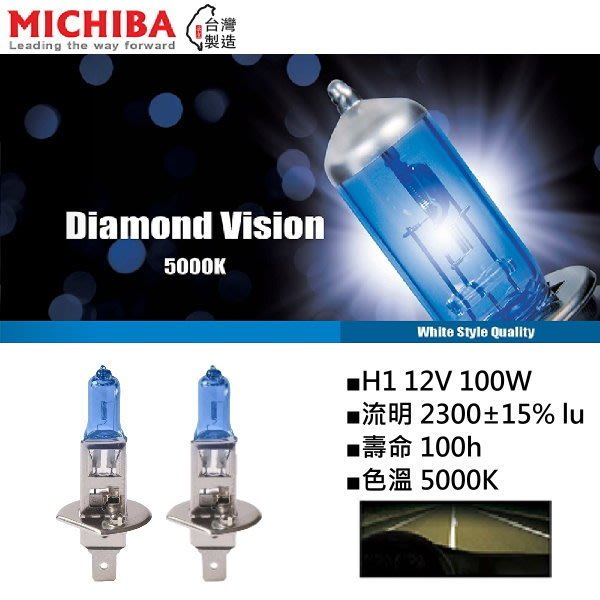 和霆車部品中和館—台灣MICHIBA 色溫5000K 規格H1 12V 100W 超白光鹵素燈泡(1組2顆入)