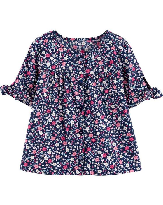 【Carter's】CS女童短袖開扣滿版小花 藍 F03190828-12