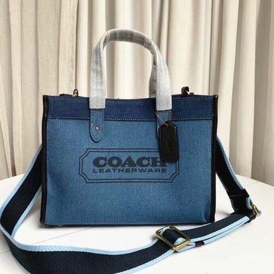 Coach 2020新款 Field30 89613牛仔藍拼色女士帆布單肩手提托特包購物袋
