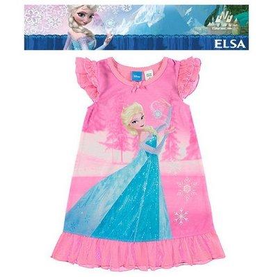 出口澳洲FROZEN冰雪奇綠ELSA艾莎公主玫粉底施法款雙層飛袖連身無袖睡裙(95~140CM適用)官網同步