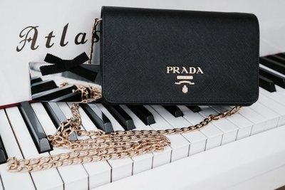 Prada 1BP006 Saffiano Crossbody bag 鍊帶小型斜背包 黑