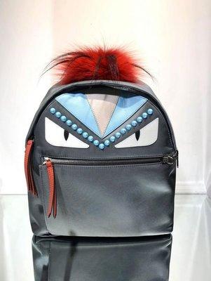 🎁最低折扣🈹全新真品Fendi 限量款8BZ035 中款 Monster Bug 皮草裝飾後背包 多色