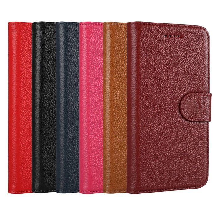 IPhone 12 Pro Max 12 mini 皮革保護套真皮荔枝紋磁扣帶側翻蓋書本皮套