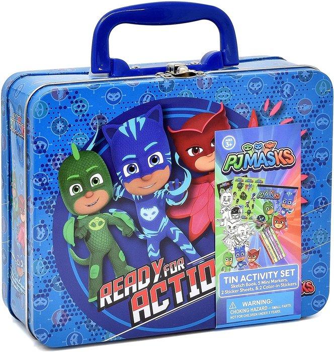 預購 美國帶回 PJ MaskS 睡衣小英雄 兒童著色塗鴉鐵盒組 貼紙 外出旅遊 生日禮