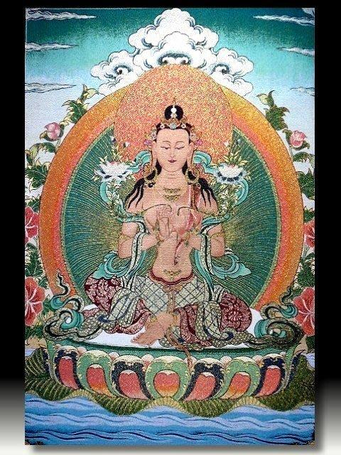 【 金王記拍寶網 】S799 中國西藏藏密佛像刺繡唐卡 觀音 刺繡 (大)一張 完美罕見~