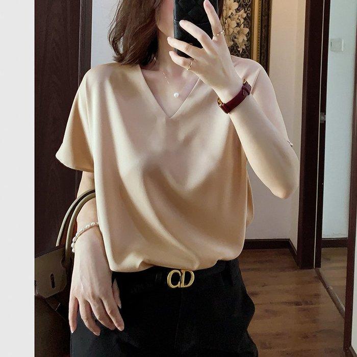 BY 高階 日本品牌面料 設計師款V領落肩寬鬆顯瘦短袖上衣 T恤