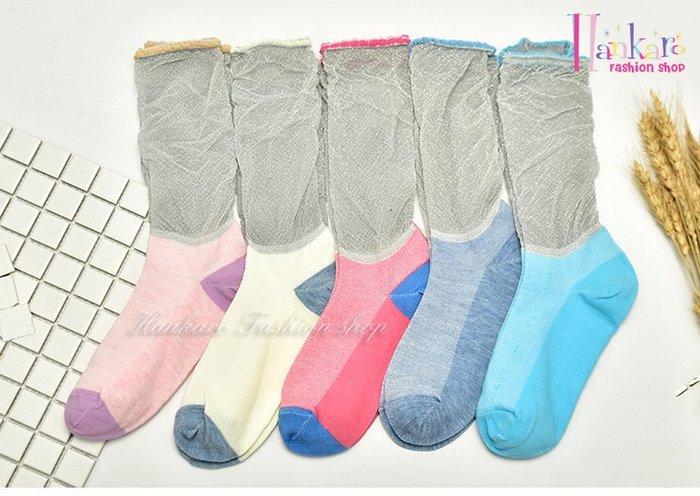 ☆[Hankaro]☆ 流行爆款水晶絲短襪透明襪銀絲泡泡襪(5雙一組)~(合併批發另洽)