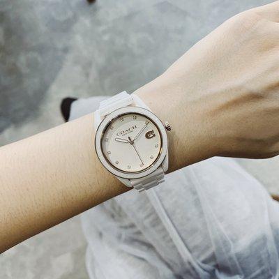 COACH美國精品手錶- 浪漫主義經典白陶瓷手錶   白 x 陶瓷
