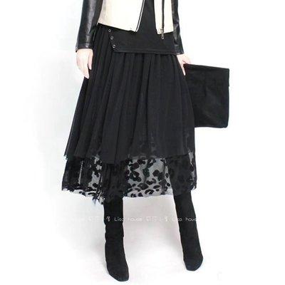 【莉莎小屋】正韓 秋冬新品(現貨)  💝韓國連線-豹紋雙層雪紡假兩件(裙+褲)👚👖D191129