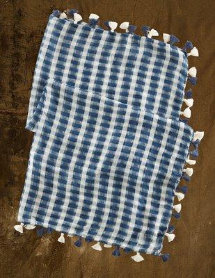 大降價!全新 DENIM & SUPP Ralph Lauren 經典印第安風民族風藍格紋棉質圍巾方巾,無底價!免運費!