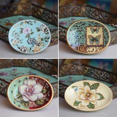 創意家居美式陶瓷彩繪肥皂盒美容院賓館歐...