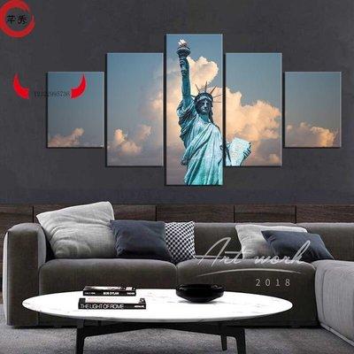 實木框畫 美國自由女神像 Statue 新of Liberty 自由照耀世界 臥室客廳裝飾畫 沙發背景墻掛畫GYUGU