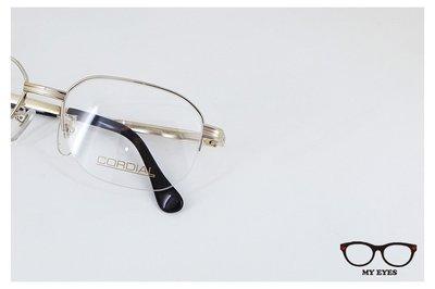 【My Eyes 瞳言瞳語】CORDIAL 頂級鈦紳士款 金色大框架半框眼鏡 輕盈好戴 經典不敗 日本製 (205)