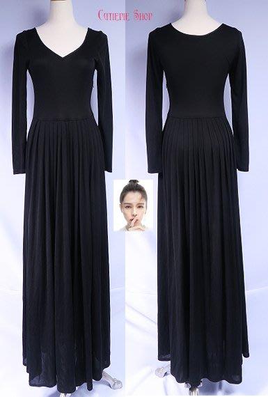 徐若瑄二手精品☆Comma黑色中高腰長袖長洋裝