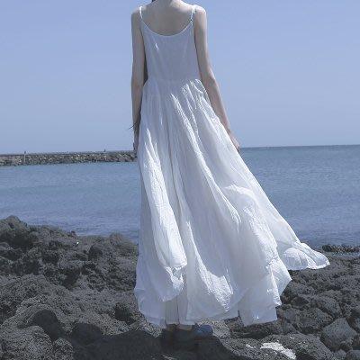 *菇涼家*新款黑白超長不规则大摆吊带連衣裙