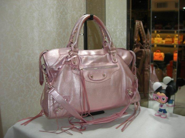典精品名店 Balenciaga 115748 粉紅 小銀釦 City Bag 流蘇 機車包 手提 肩背包 兩用包 現貨