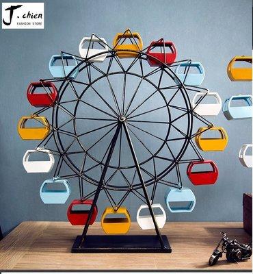 J.chien ~[全館免運]美式復古摩天輪模型擺件 創意酒櫃裝飾道具 工業風擺設 咖啡廳裝飾 桌面擺設(大)