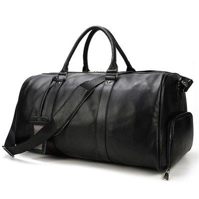 ☆Tide man☆ 18BAOK1639 男士真皮旅行包荔枝紋黑色行李包帶鞋位圓筒手提包頭層牛皮斜挎包