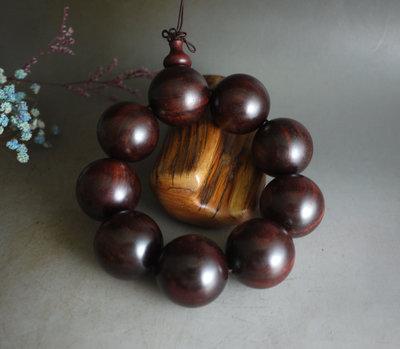 贊比亞 紫檀 血檀 3.0 / 9顆   大手珠 - 高油密 水波紋 無漆 無蠟 重148克  ** K818