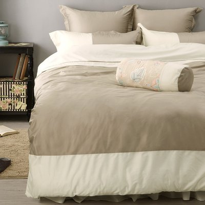 《60支紗》雙人床包/被套/枕套/4件式【米色】波隆那100%精梳棉-麗塔寢飾-