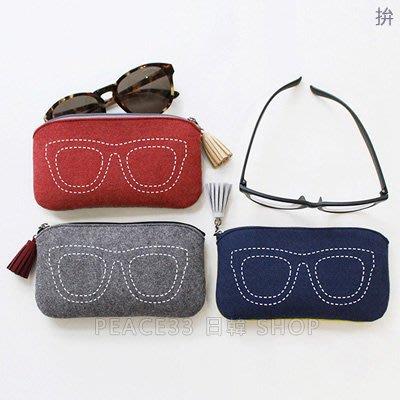 【PEACE33】韓國代購。indigo 創意拼色毛氈毛呢流蘇眼鏡袋/化妝包 隨身收納 墨鏡包。現+預