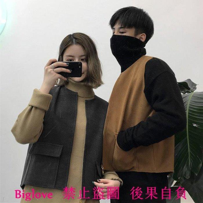 韓國復古方口袋毛呢馬甲背心拉鏈外套 18FW男女款