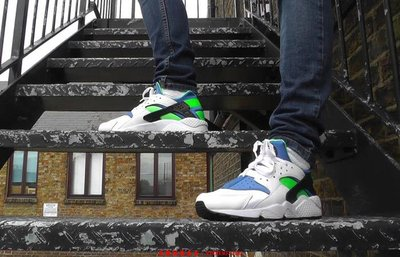 全新真品Nike Air Huarache Scream Green White 武士 DD1068-100慢跑休閒潮鞋