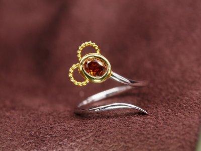天然彩鑽 麻花耳米老鼠 棕橘鑽精緻小鑽戒 14K金鑽戒 比agete份量更足 閃亮珠寶