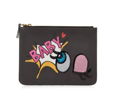 ☆大象屋☆ PLAYNOMORE大眼黑色手拿包SHY BABY CLUTCH small  black出清超低$890