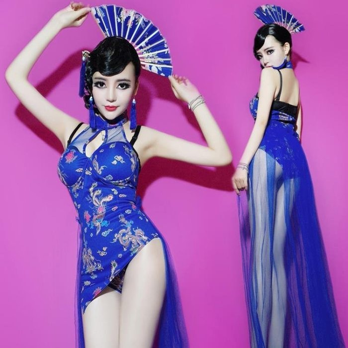涼感復古龍鳳旗袍演出服新款夜場商演團體dj女歌手領舞服
