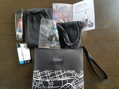 含內容物 可掛  黑白 STATE&美國航空 過夜包 手拿包 航空包 盥洗包 旅行收納包(SBG6)