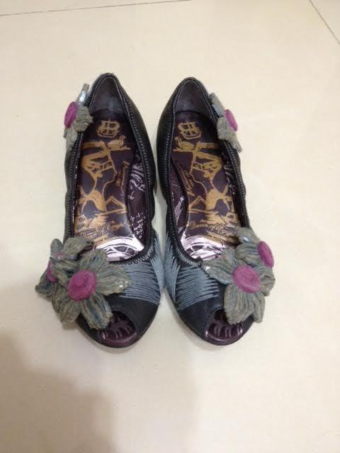 9成9新 只在家試穿 Macanna 麥坎納 魚口花卉低跟鞋 JP24.5