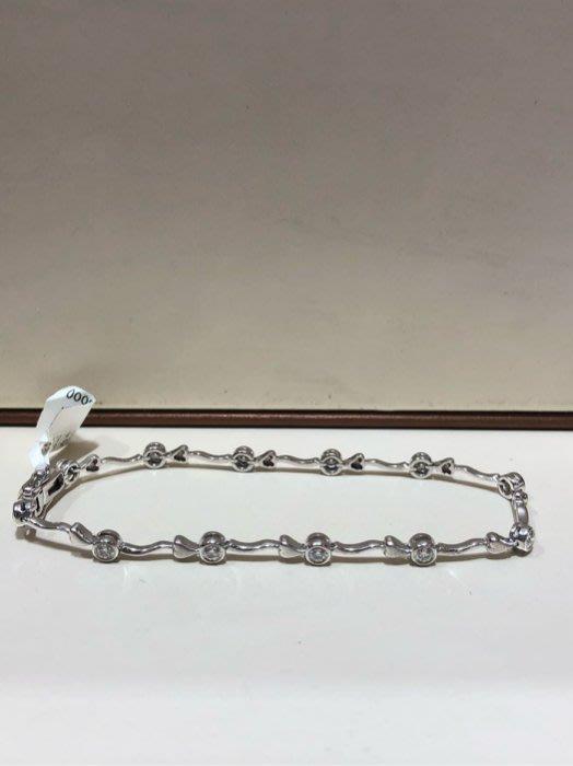 總重60分天然鑽石白K金手鍊,每顆鑽都是八心八箭鑽石閃亮耀眼,經典款式設計年輕活力款式,超值優惠價35800