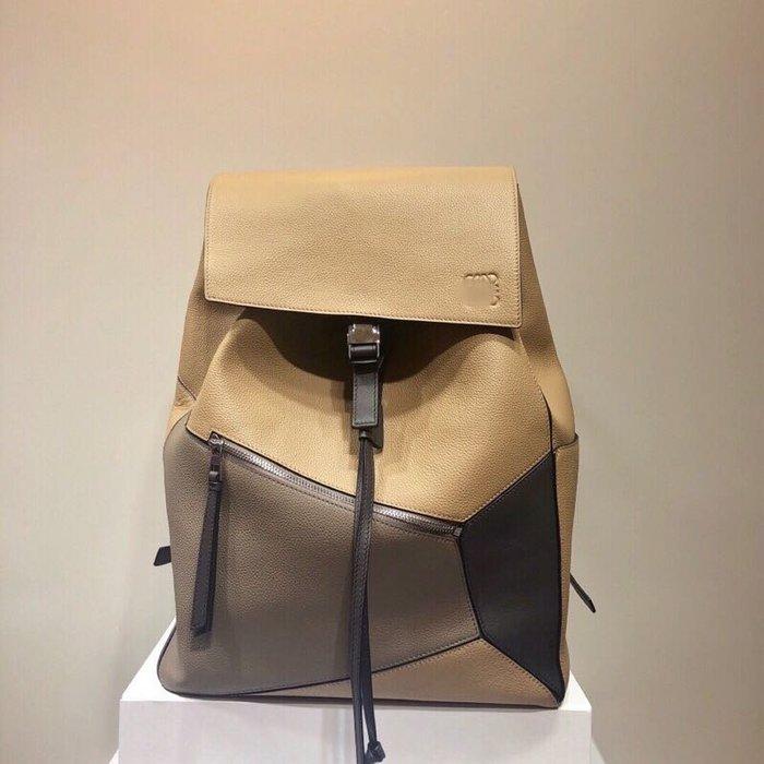 【海外原單】puzzle backpack撞色小牛皮後揹包雙肩揹包