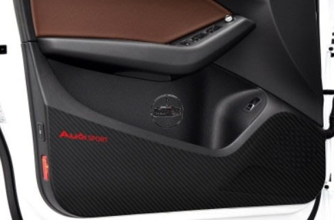 Audi 碳纖維車門防踢貼 Q5 車門改裝保護 時尚 防曬 耐髒 易清理 撕下不留膠
