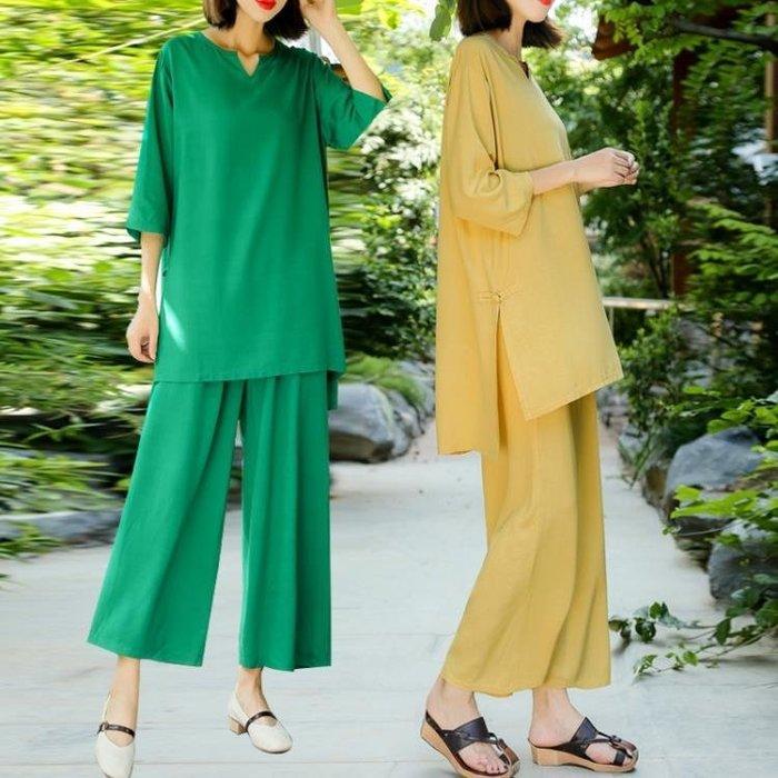 【免運】棉麻兩件套女民族風女裝夏裝寬鬆七分袖上衣褲子純色套裝