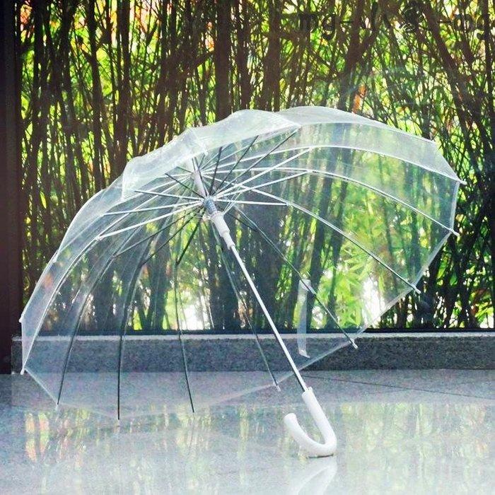 長柄傘  復古透明雨傘長柄透明傘