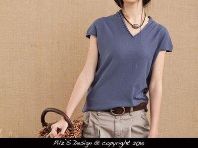 Pilz's Shop日本設計師造型領子棉麻薄t恤短袖上衣針織衫素色基本款海洋鄉村韓版文藝設計好質感
