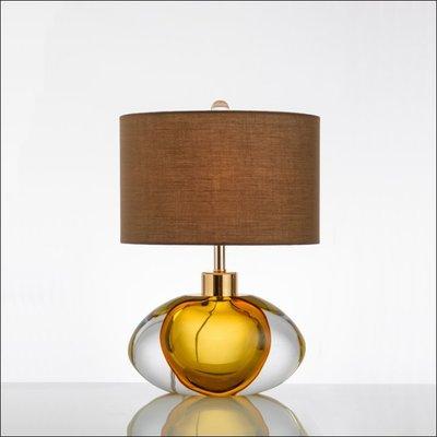 Template 美式 藝術 淡黃色 琉璃 裝飾 家居 臥室 兒童房 床頭 現代設計師 檯燈 E27 110V~220V