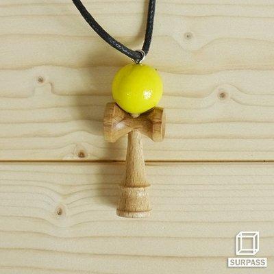 『Surpass』木質劍玉皮繩項鍊 黃色