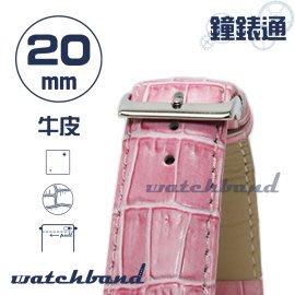 【鐘錶通】C1.31I《亮彩系列-手拉錶耳》鱷魚格紋-20mm 蜜桃粉┝手錶錶帶/皮帶/牛皮錶帶┥