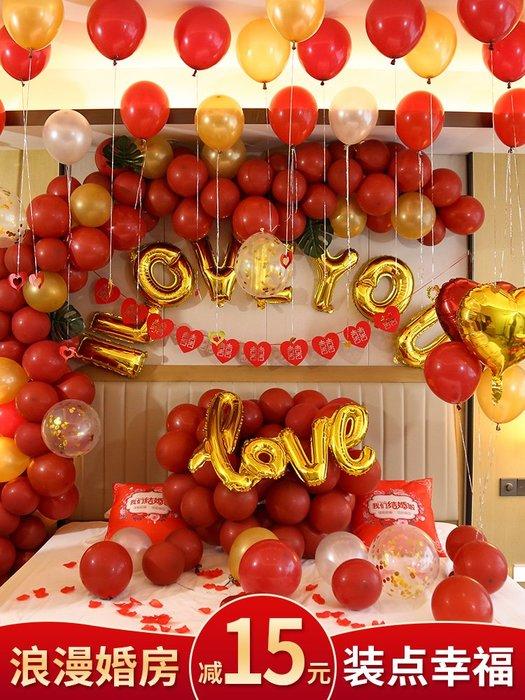 禧禧雜貨店-網紅婚房裝飾石榴紅氣球結婚用婚慶臥室新房布置婚禮生日氣球套裝(規格不同的,下單請詢價)