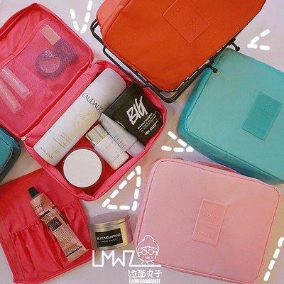 學生書包 森系印花可愛大容量便攜出差旅行男女洗漱包手提化妝包收納包