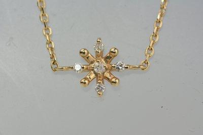 【芬芳時尚】 日本專櫃購回AGETE 雪花造型 10K黃金天然鑽石手鍊 附盒